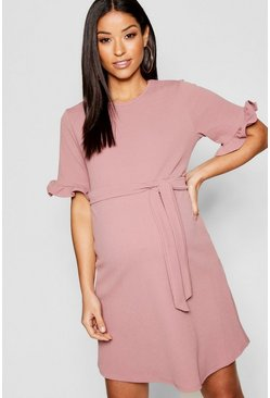 Womens Rose Maternity  Ruffle Tie Waist Smock Dress