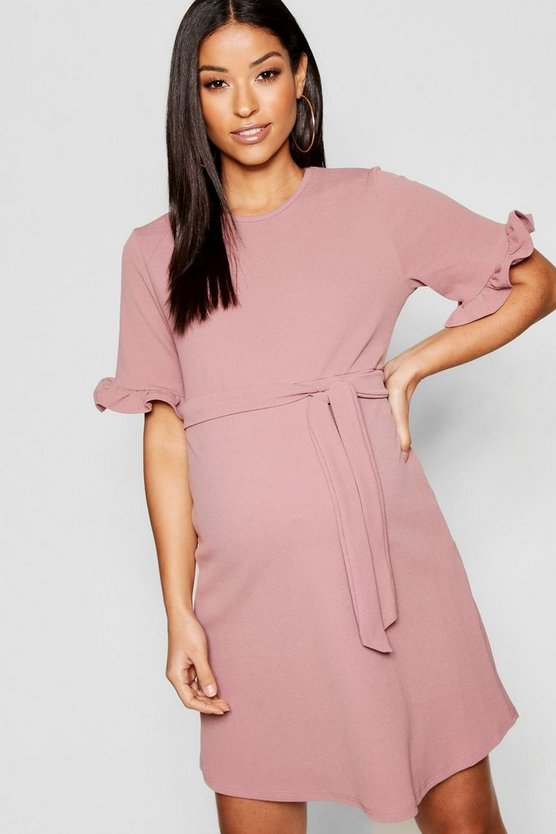 Maternity  Ruffle Tie Waist Smock Dress