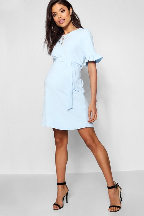 Womens Sky Maternity  Ruffle Tie Waist Smock Dress