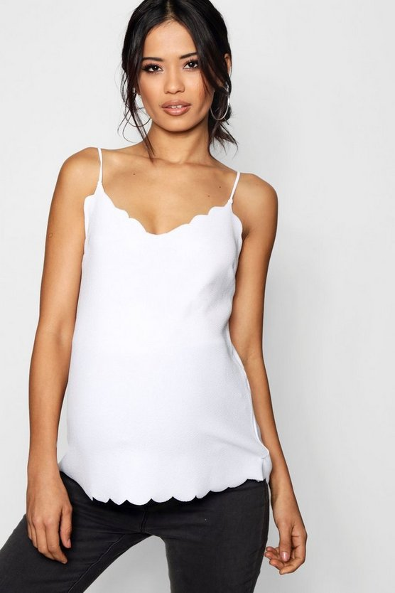 Womens White Maternity Crepe Scalloped Hem Cami Top
