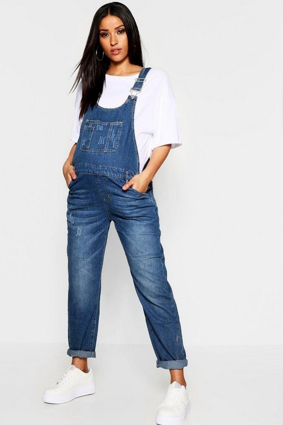 Womens Maternity Mid Blue Wash Dungaree