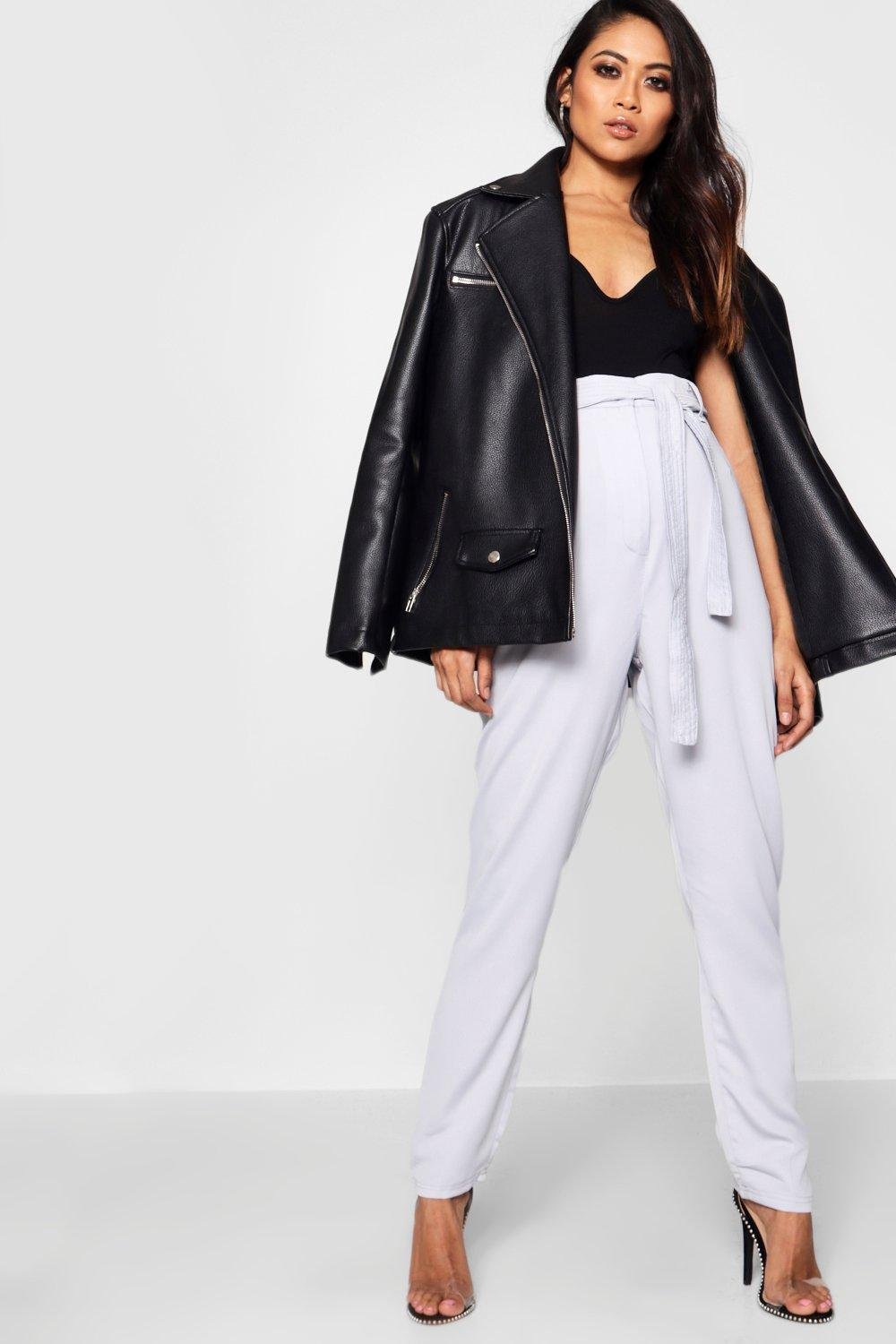 NEW-Boohoo-Womens-Maternity-Tie-Waist-Satin-Tailored-Trouser-in-Polyester