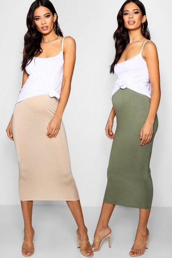 Womens Multi Maternity 2 Pack Jersey Midaxi Skirt