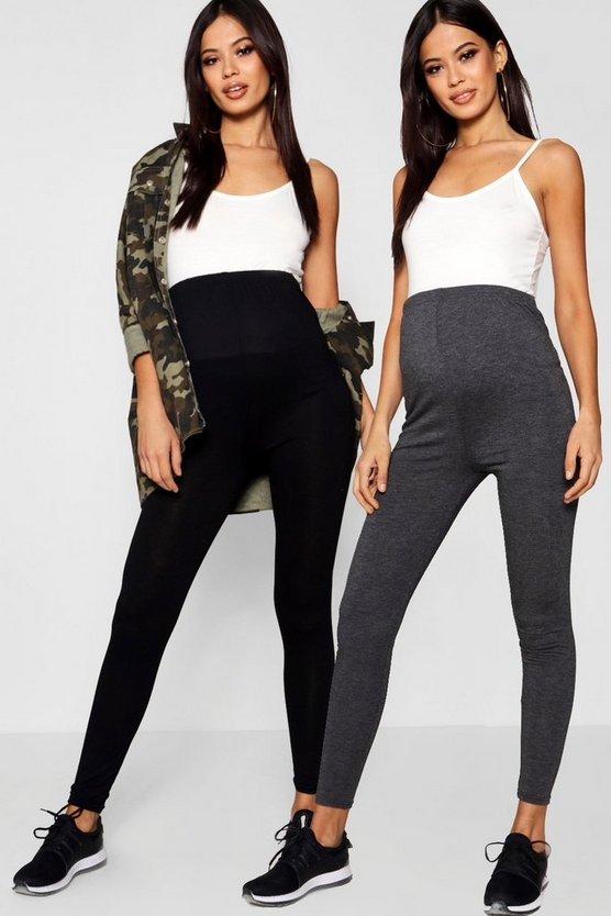Maternité - Lot de 2 leggings couvrant le ventre