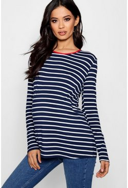 Womens Navy Maternity  Stripe Long Sleeve Top