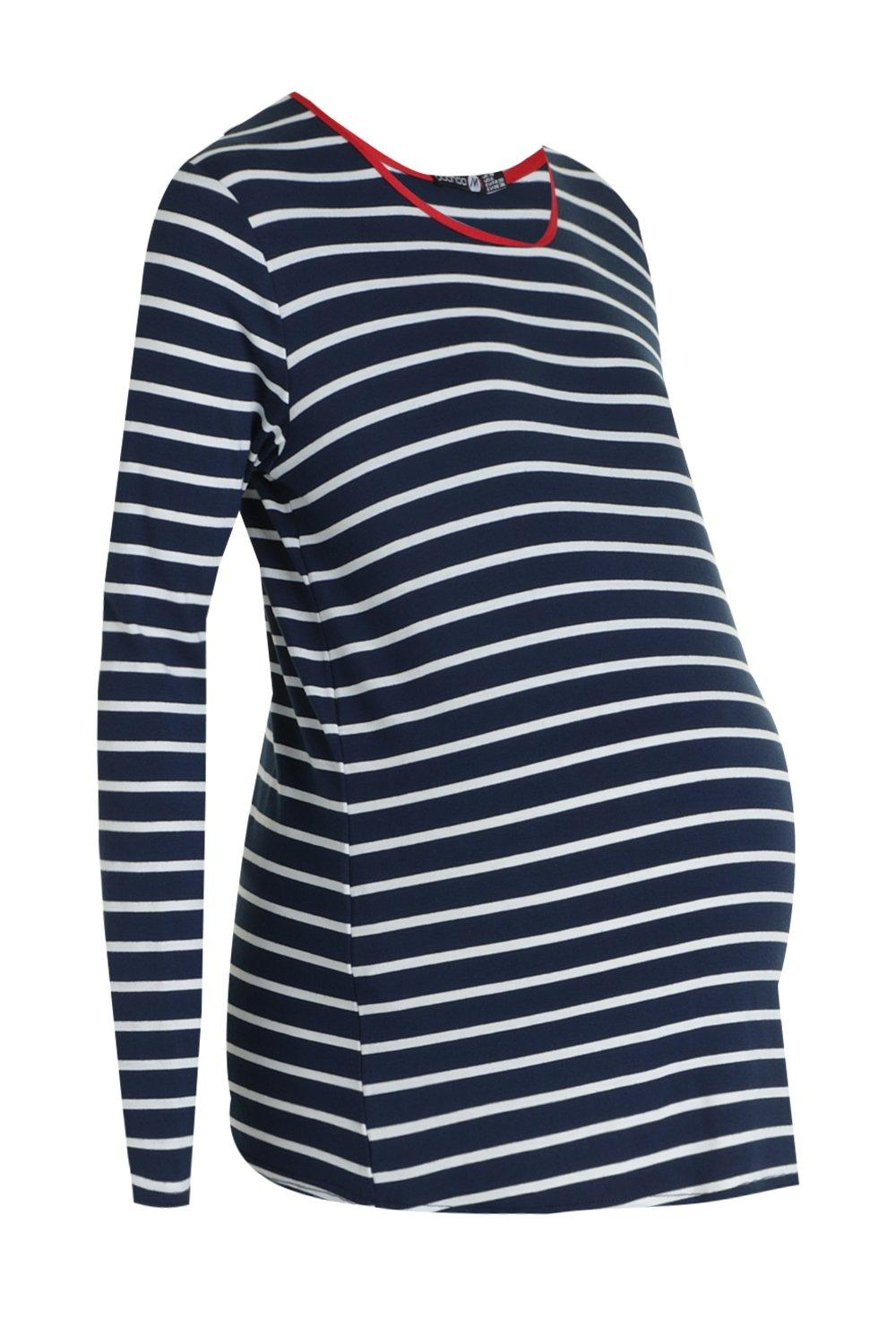 Stripe Top Sleeve navy Long Maternity 6Fwxn6