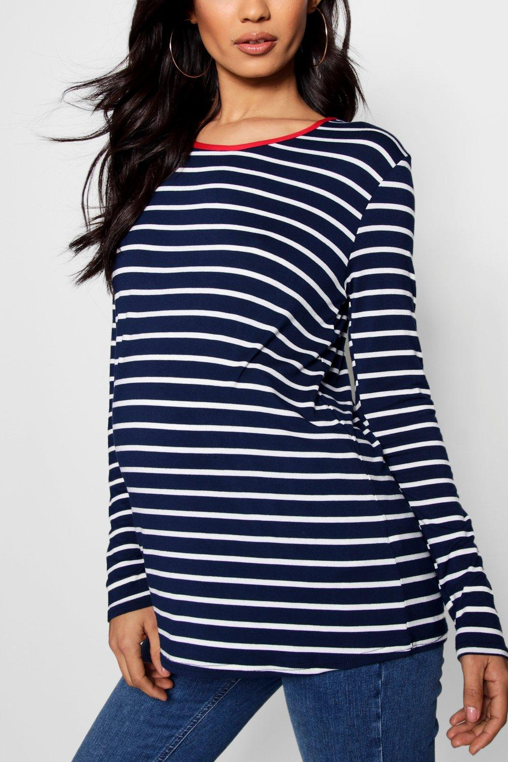 Long Top Sleeve Maternity navy Stripe 5Rq4SXa