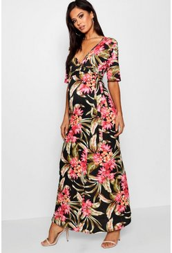 Womens Black Maternity Wrap Maxi Dress