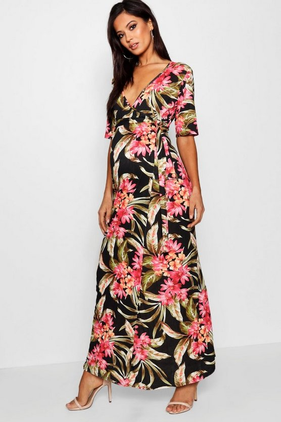 Maternity Nursing Wrap Maxi Dress