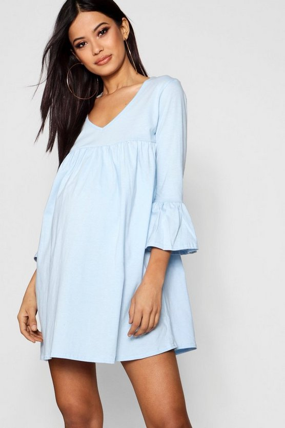 Maternity  Ruffle Sleeve Smock Dress