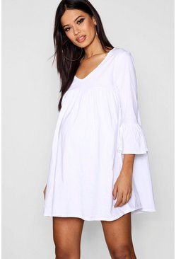 Womens White Maternity  Ruffle Sleeve Smock Dress