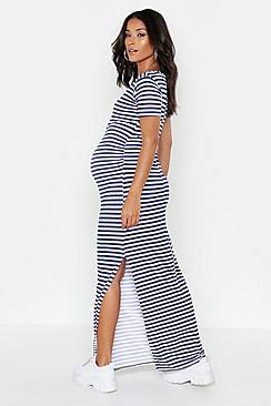 Maternity  Stripe Cap Sleeve Maxi Dress