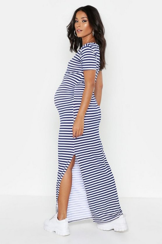 Womens Navy Maternity  Stripe Cap Sleeve Maxi Dress
