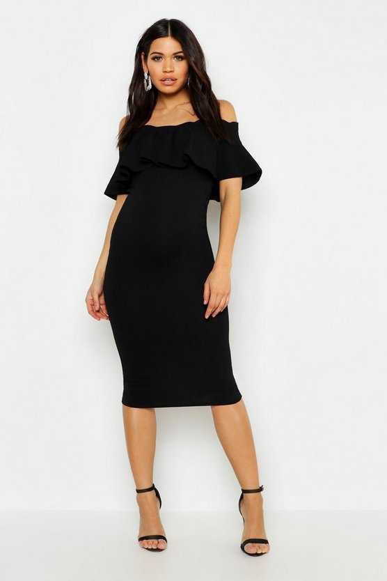 Womens Black Maternity Frill Off The Shoulder Midi Dress