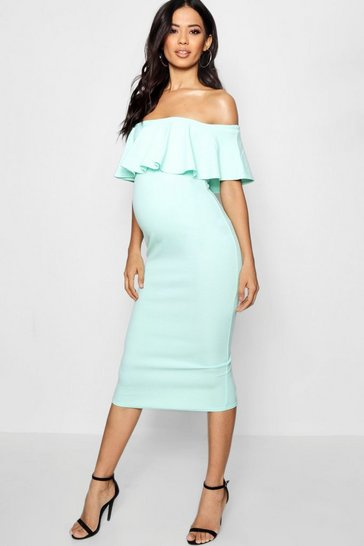 Womens Mint Maternity Frill Off The Shoulder Midi Dress