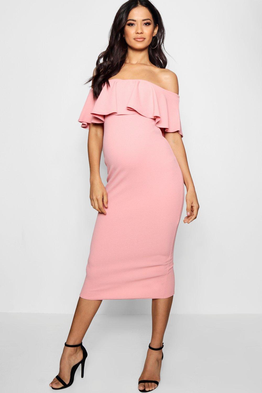 Купить со скидкой Платье миди для беременных с оборками с открытыми плечами
