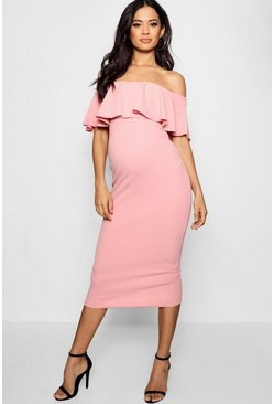 Womens Rose Maternity Frill Off The Shoulder Midi Dress