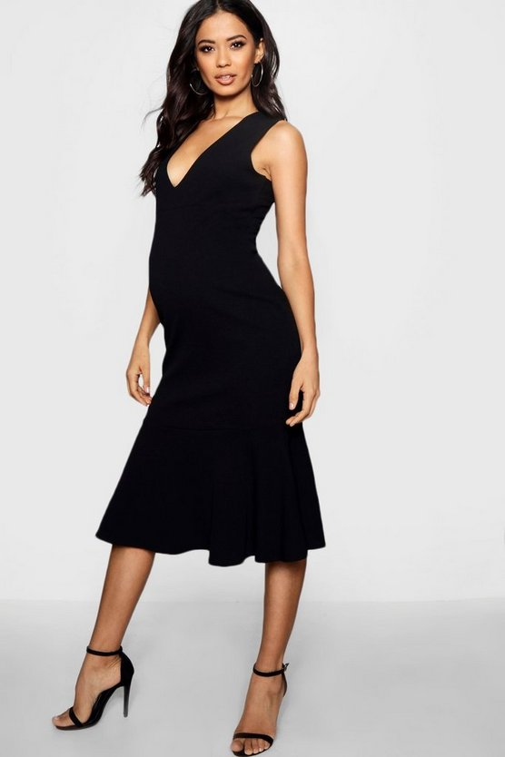 Maternity Plunge Ruffle Hem Midi Dress
