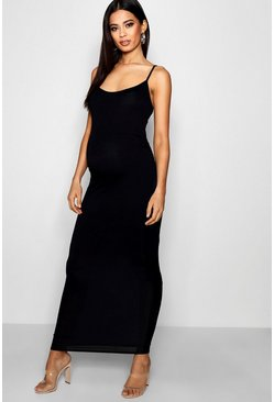 Womens Black Maternity Strappy Bodycon Maxi Dress