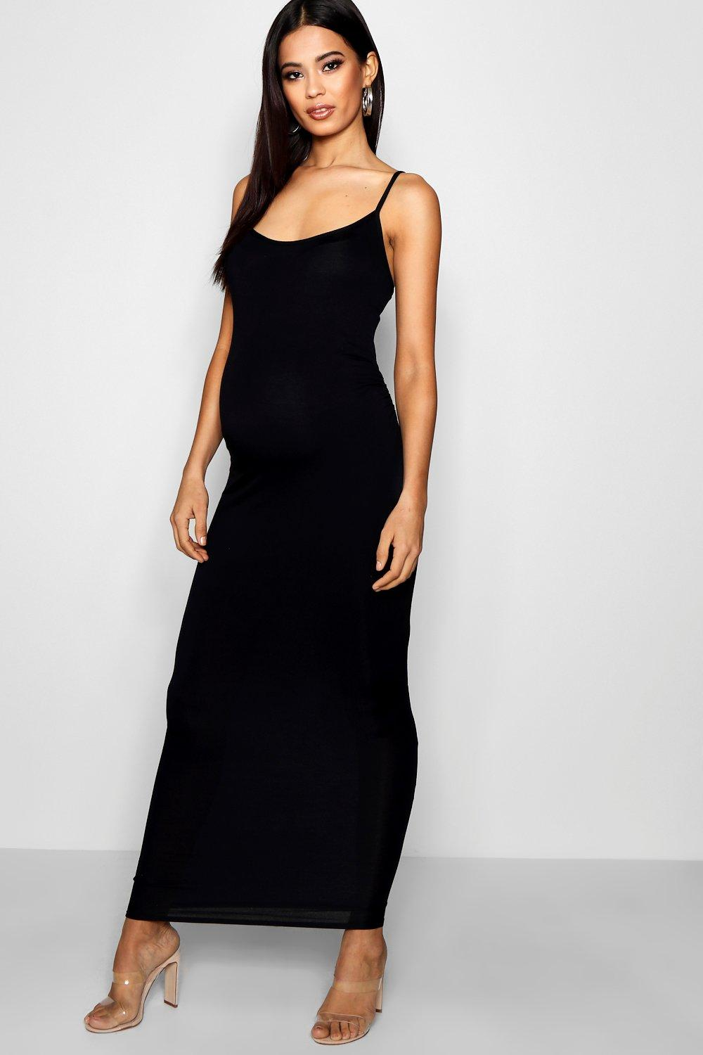 f79db7798ffd07 Womens Black Maternity Strappy Bodycon Maxi Dress. Hover to zoom