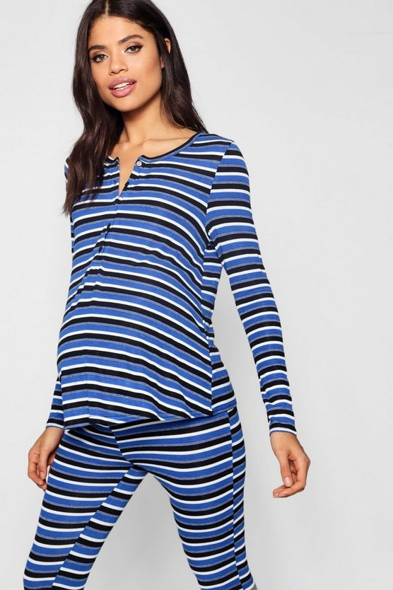 Maternity Rib Button Top + Stripe Jogger