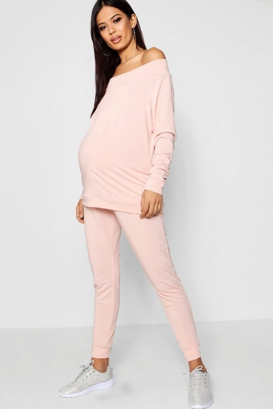 Maternity Slash Neck Top + Jogger Set