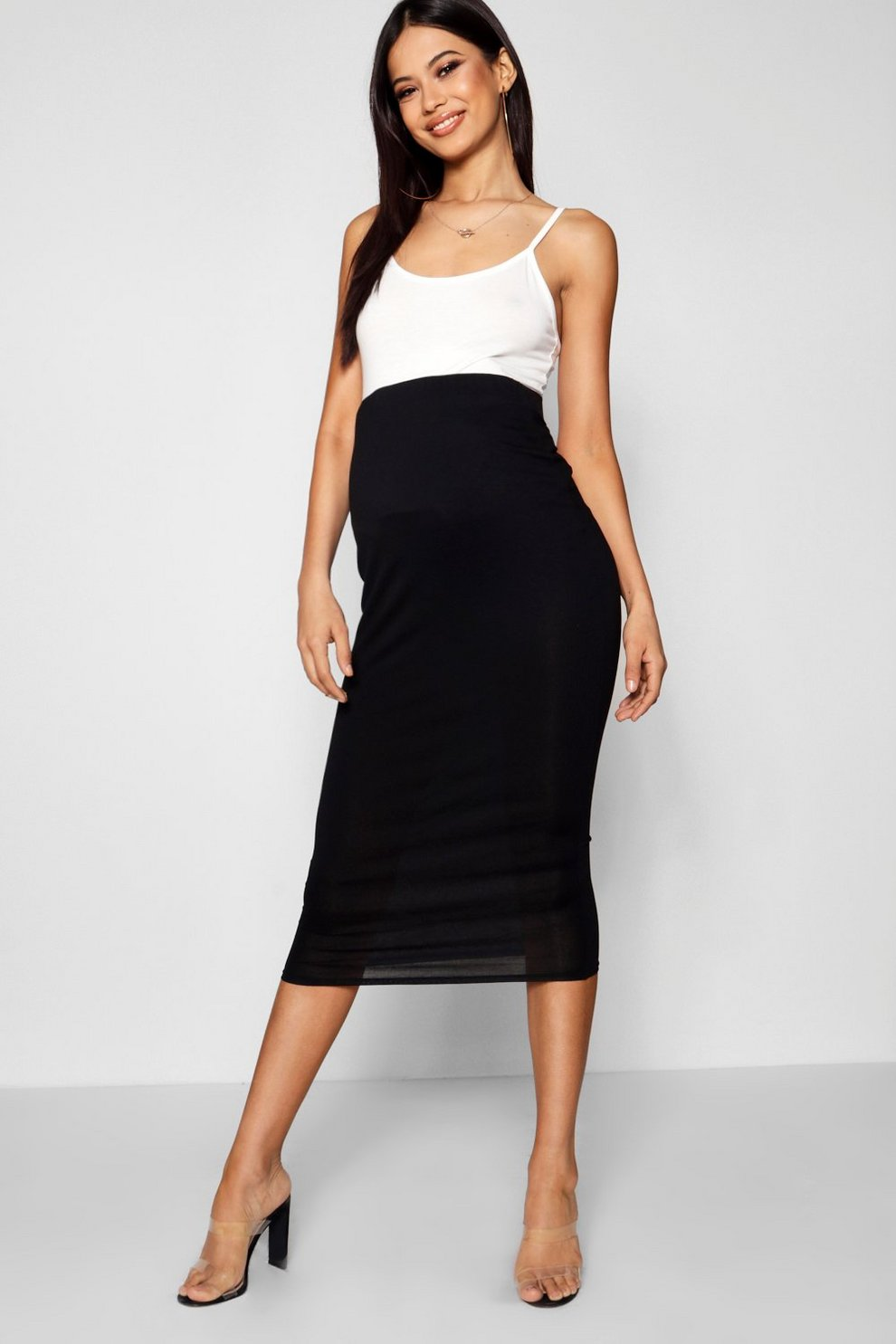 b1ae5601d3 Womens Black Maternity Over The Bump Midi Skirt. Hover to zoom. Close video