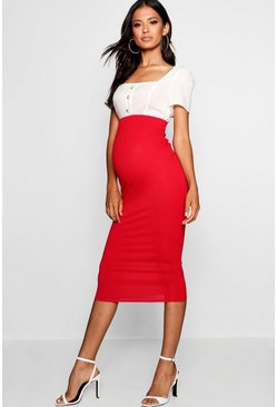 Womens Red Maternity Over The Bump Midi Skirt