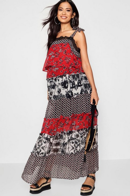 Maternity Ruffle Tiered Mixed Print Maxi Dress