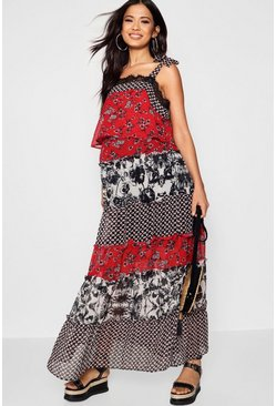 Womens Black Maternity Ruffle Tiered Mixed Print Maxi Dress