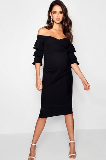 Womens Black Maternity Off Shoulder Detail Midi Dress