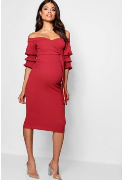 Cranberry Maternity Off Shoulder Detail Midi Dress