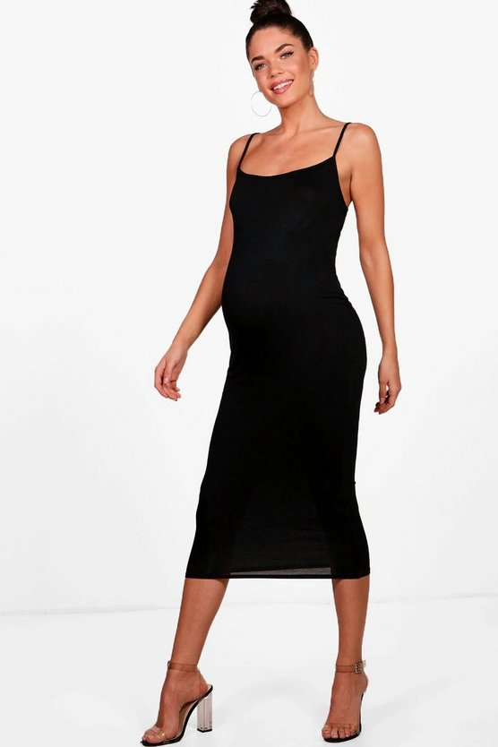 Womens Black Maternity Jersey Square Neck Midi Dress