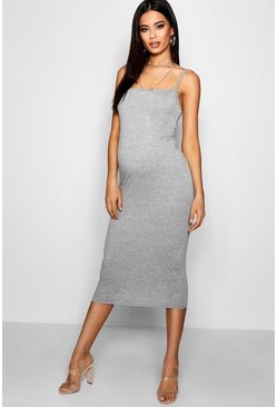 Womens Grey Maternity Jersey Square Neck Midi Dress