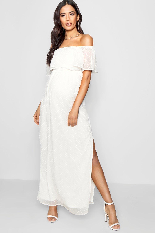 0228ce556fdcb Vintage Style Maternity Clothes Maternity Off Shoulder Dobby Spot Maxi Dress  $44.00 AT vintagedancer.com