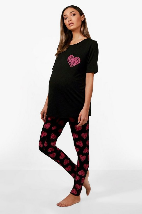 Womens Black Maternity May Made With Love PJ Set