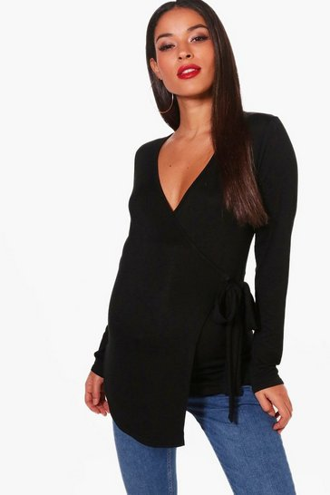 Womens Black Maternity Long Sleeve Wrap Top