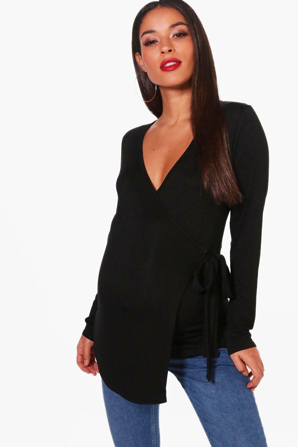 362da63e91d23 Maternity Long Sleeve Wrap Top. Hover to zoom