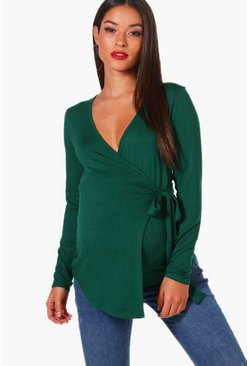 Leaf green Maternity Long Sleeve Wrap Top