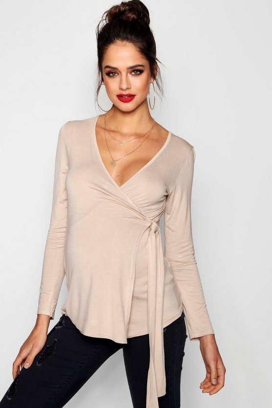 Maternity Long Sleeve Wrap Top