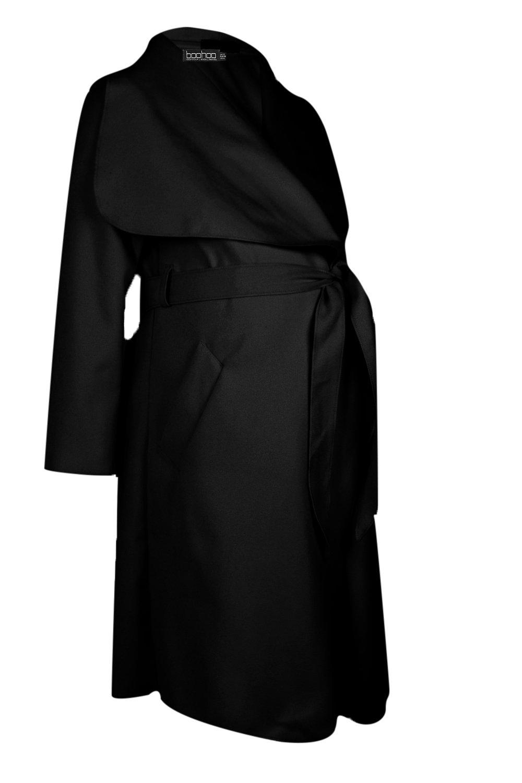 cuello chal negro en y nudo cintura de con Abrigo premamá pvn7EqxAO