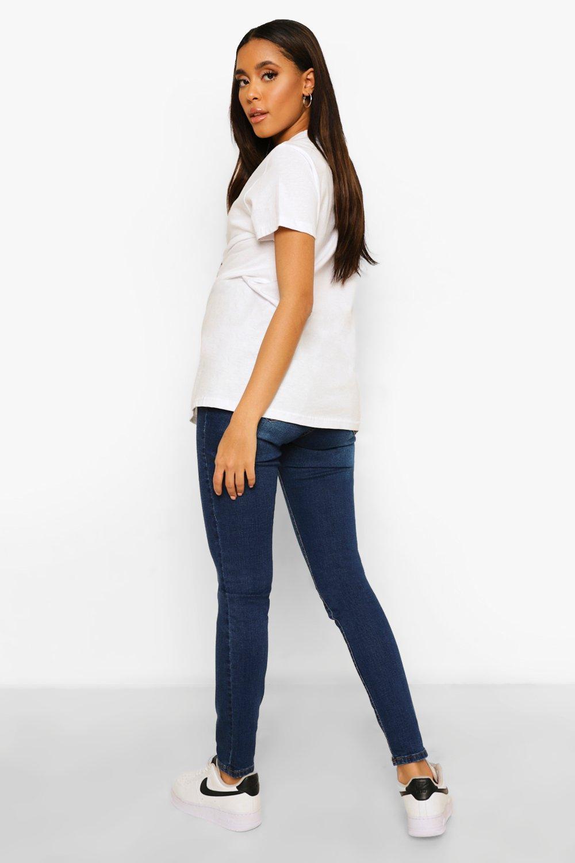 premamá de azul skinny por oscuro encima Jeans barriga 1H5Iqxx