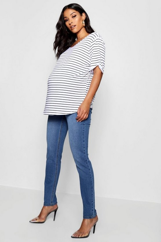 Womens Mid blue Maternity Over The Bump Skinny Leg Jean