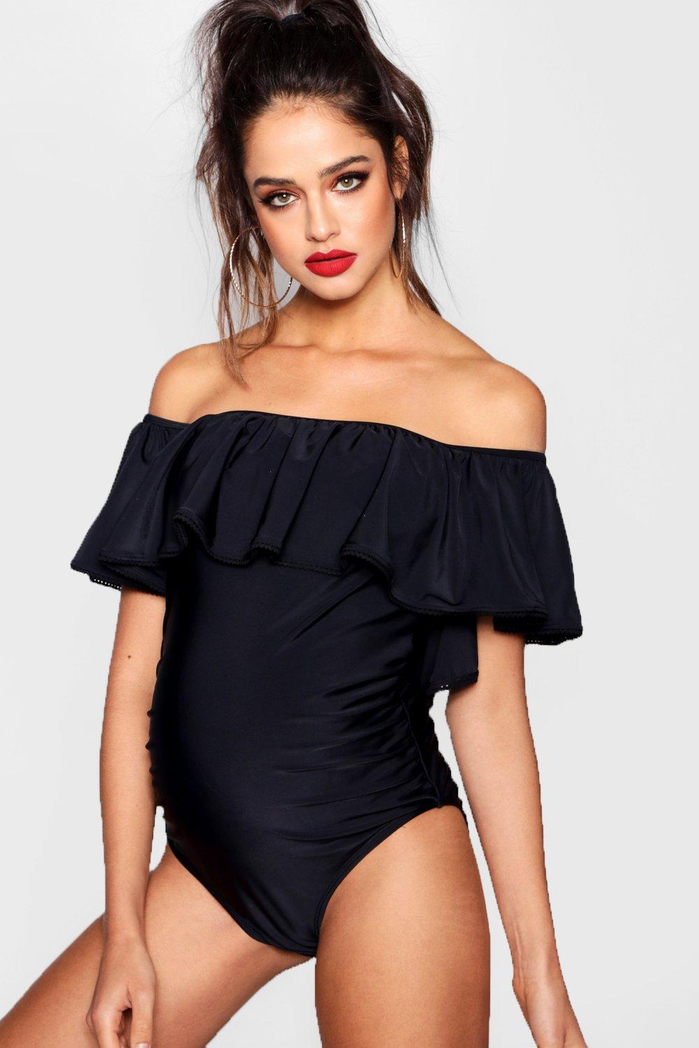 3cb2ec201b Maternity Off Shoulder Ruffle Swimsuit. Hover to zoom