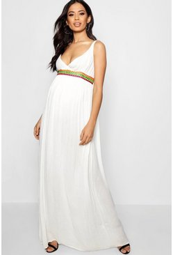 Womens Ivory Maternity  Embroidered Strappy Maxi Dress