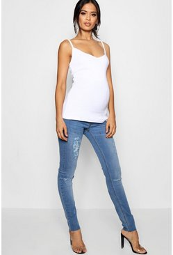 Mid blue Maternity  Over The Bump Skinny Jean
