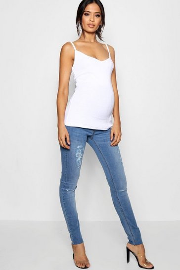 Womens Mid blue Maternity Over The Bump Skinny Jean