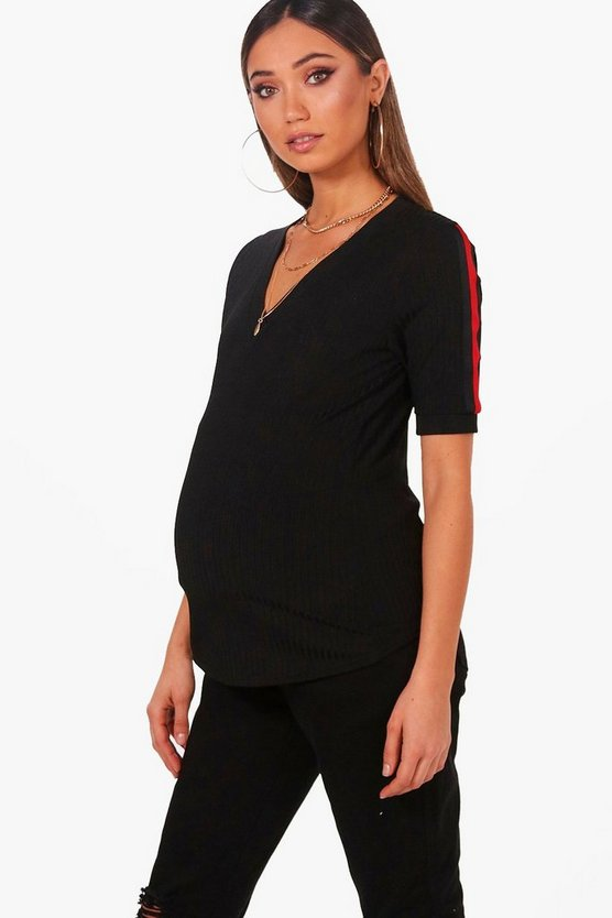 Maternity Gemma Stripe Shoulder Ribbed Tee