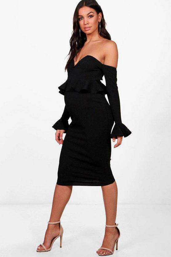Womens Black Maternity Off Shoulder Midi Dress