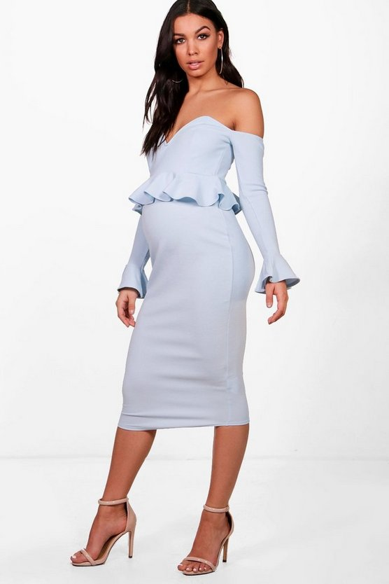 Maternity Off Shoulder Midi Dress